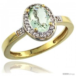 10k Yellow Gold Diamond Green-Amethyst Ring 1 ct 7x5 Stone 1/2 in wide