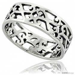Sterling Silver S Scrolls Cut-out Ring 1/4 in wide