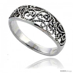 Sterling Silver Filigree Floral Vine Ring 1/4 in wide