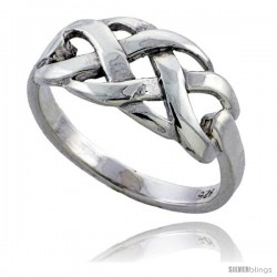 Sterling Silver Woven Braid Ring 3/8 wide