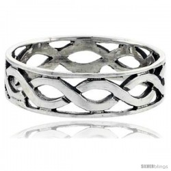 Sterling Silver Wave Link Wedding Band Ring 1/4 in wide