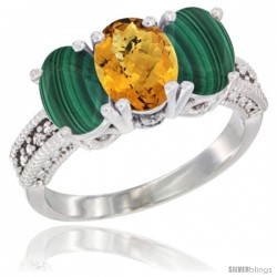 10K White Gold Natural Whisky Quartz & Malachite Sides Ring 3-Stone Oval 7x5 mm Diamond Accent