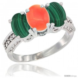 10K White Gold Natural Coral & Malachite Sides Ring 3-Stone Oval 7x5 mm Diamond Accent