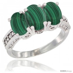 10K White Gold Natural Malachite Ring 3-Stone Oval 7x5 mm Diamond Accent
