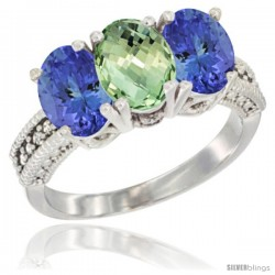 10K White Gold Natural Green Amethyst & Tanzanite Sides Ring 3-Stone Oval 7x5 mm Diamond Accent