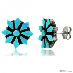 Sterling Silver Handcrafted Blue Turquoise Flower Stud Earrings (Genuine Zuni Tribe American Indian Jewelry) 1/2 in. (13 mm)