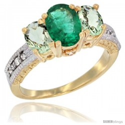 10K Yellow Gold Ladies Oval Natural Emerald 3-Stone Ring with Green Amethyst Sides Diamond Accent