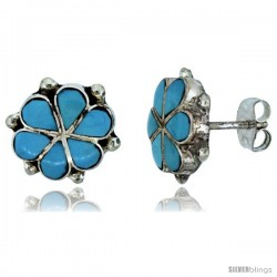 Sterling Silver Handcrafted Blue Turquoise Flower Stud Earrings (Genuine Zuni Tribe American Indian Jewelry) 7/16 in. (11 mm)