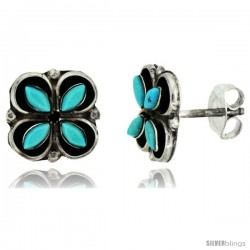 Sterling Silver Handcrafted Blue Turquoise Flower Stud Earrings (Genuine Zuni Tribe American Indian Jewelry) 3/8 in. (10 mm)