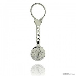 Sterling Silver Soccer Ball Futbol Key Ring 1 in (24 mm)