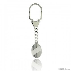 Sterling Silver Key Ring w/ plain Oval Tag 1 in. x 3/4 in. (26 mm X 20 mm )