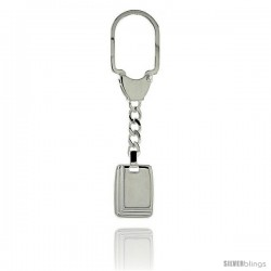 Sterling Silver Key Ring w/ Rectangular Tag 15/16 in. x 11/16 in. (24 mm X 18 mm )