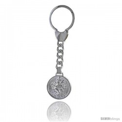 Sterling Silver St. Christopher Key Ring 1 in. (25 mm) wide