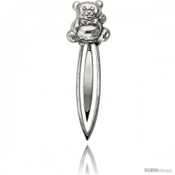 Sterling Silver TEDDY BEAR Bookmark Clip 3 3/16 in. (80 mm) tall