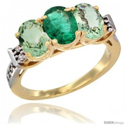 10K Yellow Gold Natural Emerald & Green Amethyst Sides Ring 3-Stone Oval 7x5 mm Diamond Accent