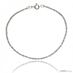 Sterling Silver 1 mm Thin Rope Chain Necklace, Diamond cut Nickel Free
