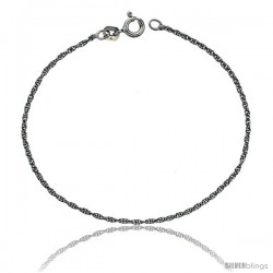 Sterling Silver 1 mm Thin Rope Chain Necklace, Rhodium Finish Diamond cut Nickel Free, Diamond cut Nickel Free