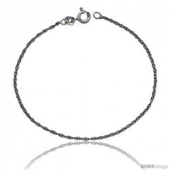 Sterling Silver 1 mm Thin Rope Chain Necklace, Rhodium Finish Diamond cut Nickel Free, Diamond cut Nickel Free