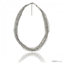 Sterling Silver Liquid Silver Necklace, 20 strands 18 in (45 cm) long + 2 in extention, with wire wrapped cone caps
