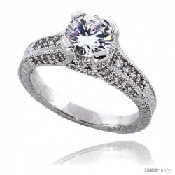 "Sterling Silver Vintage Style Engagement ring, w/ a 7mm (1.25 ct) Round CZ Stone, 5/16"" (7 mm) wide"