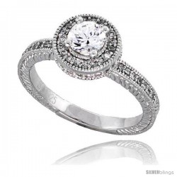 "Sterling Silver Vintage Style Engagement ring, w/ a 5mm (.5 ct) Round CZ Stone, 3/8"" (10 mm) wide"
