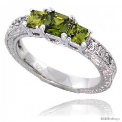 Sterling Silver Vintage Style Engagement ring, w/ two 4mm (.3 ct) & one 5mm (.63 ct) Princess Cut Peridot-colored CZ Stones