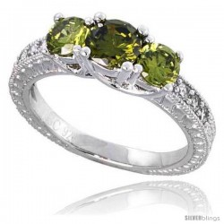 """Sterling Silver Vintage Style Engagement ring, w/ two 4mm (.25 ct) & one 5mm (.5 ct) Round Peridot-colored CZ Stones, 3/16"""""""