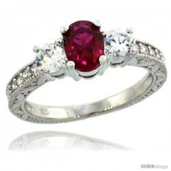 Sterling Silver 3-Stone Vintage Style Engagement Ring w/ Oval Cut (7x5 mm) Ruby Red Color & Brilliant Cut CZ Stones, 1/4 in