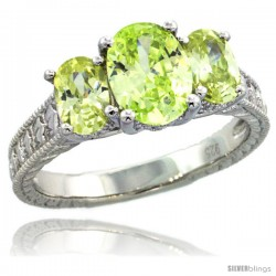 Sterling Silver 3-Stone Vintage Style Engagement Ring w/ (1) 9x7 & (2) 6x4 Oval Cut Lime Topaz Color CZ Stones, 5/16 in. (8 mm)