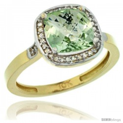 10k Yellow Gold Diamond Green-Amethyst Ring 2.08 ct Checkerboard Cushion 8mm Stone 1/2.08 in wide