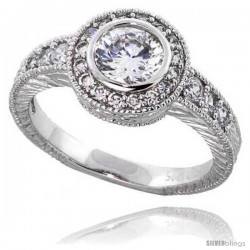 "Sterling Silver Vintage Style Engagement ring, w/ a 6mm (.75 ct) Round CZ Stone, 7/16"" (11 mm) wide"