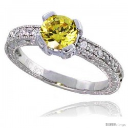 "Sterling Silver Vintage Style Engagement ring, w/ a 6mm (.75 ct) Round Yellow Topaz-colored CZ Stones, 1/4"" (7 mm) wide"