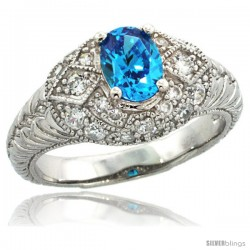 Sterling Silver Vintage Style Engagement Ring w/ 7x5mm Oval Cut Blue Topaz Color & Brilliant Cut CZ Stones, 3/8 in. (10 mm) wide