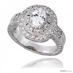 "Sterling Silver Vintage Style Engagement ring, w/ a 7 x 5 mm (.75 ct) Oval CZ Stone, 9/16"" (15 mm) wide"
