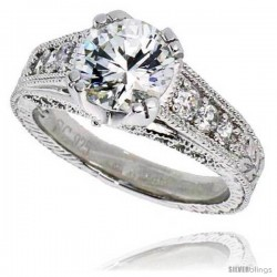 "Sterling Silver Vintage Style Engagement ring, w/ an 8mm (2.0 ct) Round CZ Stone, 3/8"" (9 mm) wide"