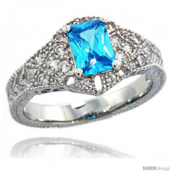 Sterling Silver Vintage Style Engagement Ring w/ 7x5mm Emerald Cut Blue Topaz Color & Brilliant Cut CZ Stones, 7/16 in. (11 mm)