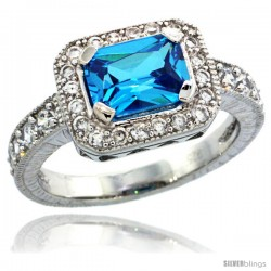 Sterling Silver Vintage Style Rectangular Engagement Ring w/ 8x6mm Emerald Cut Blue Topaz Color & Brilliant Cut CZ Stones, 3/8