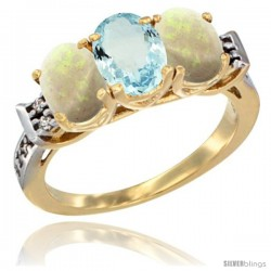 10K Yellow Gold Natural Aquamarine & Opal Sides Ring 3-Stone Oval 7x5 mm Diamond Accent