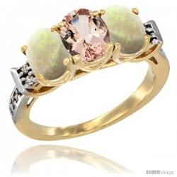 10K Yellow Gold Natural Morganite & Opal Sides Ring 3-Stone Oval 7x5 mm Diamond Accent