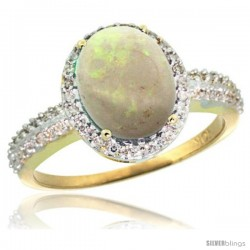 10k Yellow Gold Diamond Opal Ring Oval Stone 10x8 mm 2.4 ct 1/2 in wide