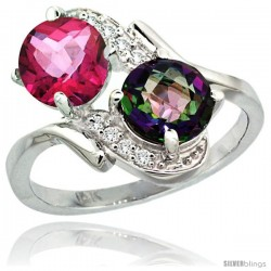 14k White Gold ( 7 mm ) Double Stone Engagement Pink & Mystic Topaz Ring w/ 0.05 Carat Brilliant Cut Diamonds & 2.34 Carats