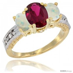 10K Yellow Gold Ladies Oval Natural Ruby 3-Stone Ring with Opal Sides Diamond Accent