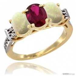 10K Yellow Gold Natural Ruby & Opal Sides Ring 3-Stone Oval 7x5 mm Diamond Accent