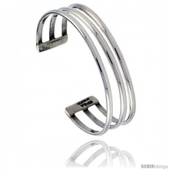 Sterling Silver High Polished Triple Wire Cuff Bangle Bracelet 7/16 in wide
