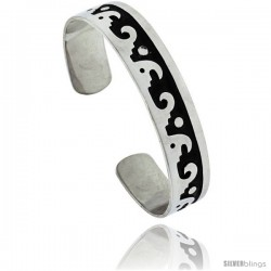 Sterling Silver Hopi design Cuff Bangle Bracelet 9/16 in wide