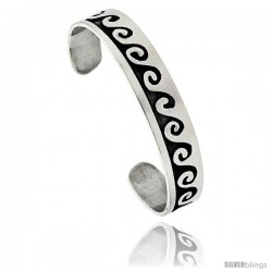 Sterling Silver High Polished Wave Pattern Cuff Bangle Bracelet, 1/2 in wide,.