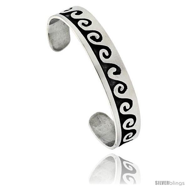 bfdedb8ebf7 Sterling Silver High Polished Wave Pattern Cuff Bangle Bracelet