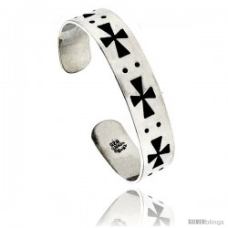 Sterling Silver Maltese Cross pattern Cuff Bangle Bracelet 5/8 in wide