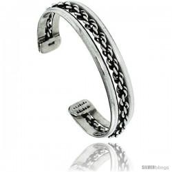 Sterling Silver Beaded Cuff Bangle Bracelet 5/16 in wide