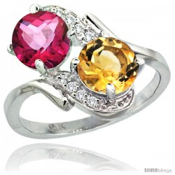 14k White Gold ( 7 mm ) Double Stone Engagement Pink Topaz & Citrine Ring w/ 0.05 Carat Brilliant Cut Diamonds & 2.34 Carats